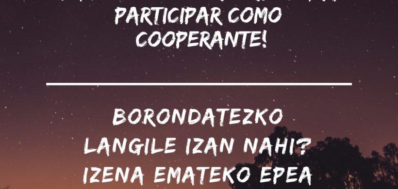 Ya puedes inscribirte para participar como cooperante!