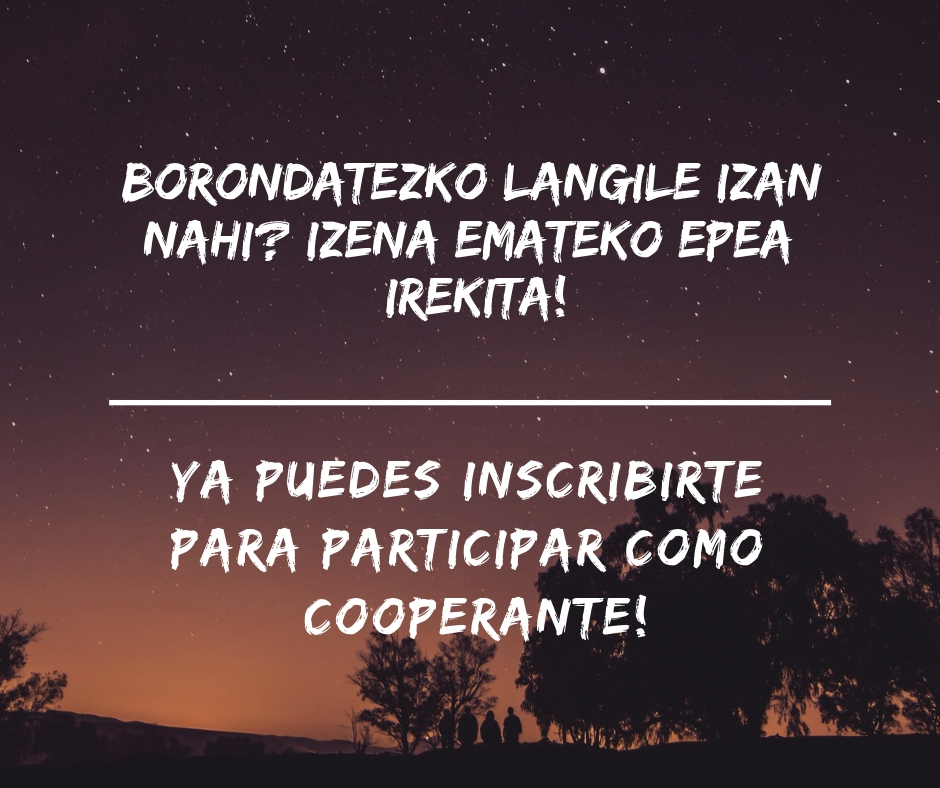 Ya puedes inscribirte para participar como cooperante! Borondatezko langile izan nahi- Izena emateko epea irekita! (2)