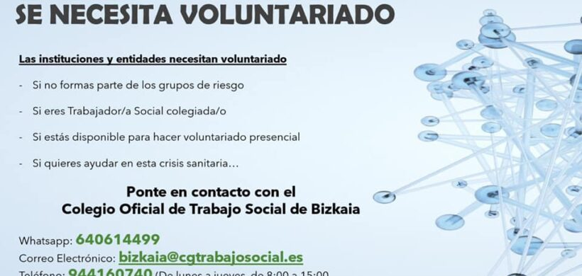 SE NECESITA VOLUNTARIADO. TRABAJADORES/AS SOCIALES