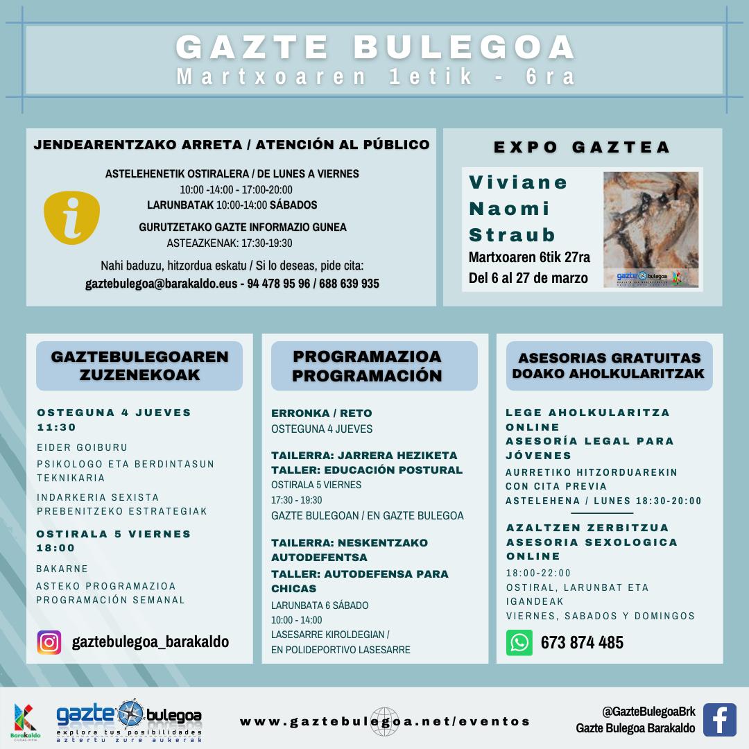 Cartel de la Programación Semanal en Gazte Bulegoa