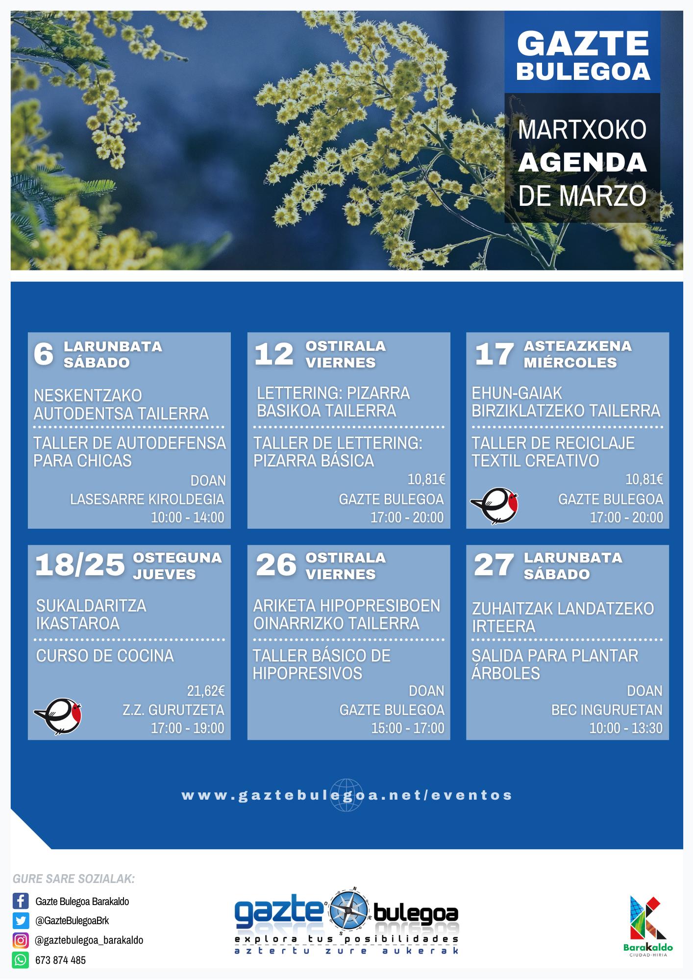 Calendario de Actividades de Gazte Bulegoa
