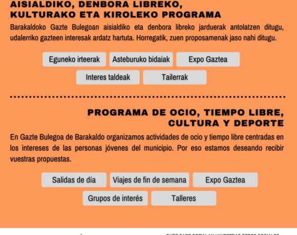 Cartel Programa de ocio, cultura y tiempo libre